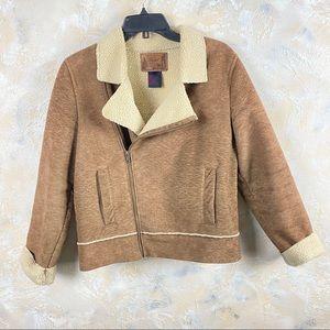 Ralph Lauren Moto Jacket Sherpa Brown Leather